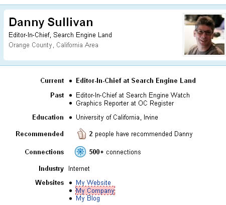 Danny's mix of followed and nofollowed links.