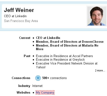 Jeff Weiner, LinkedIn CEO, nofollowed back to LinkedIn.